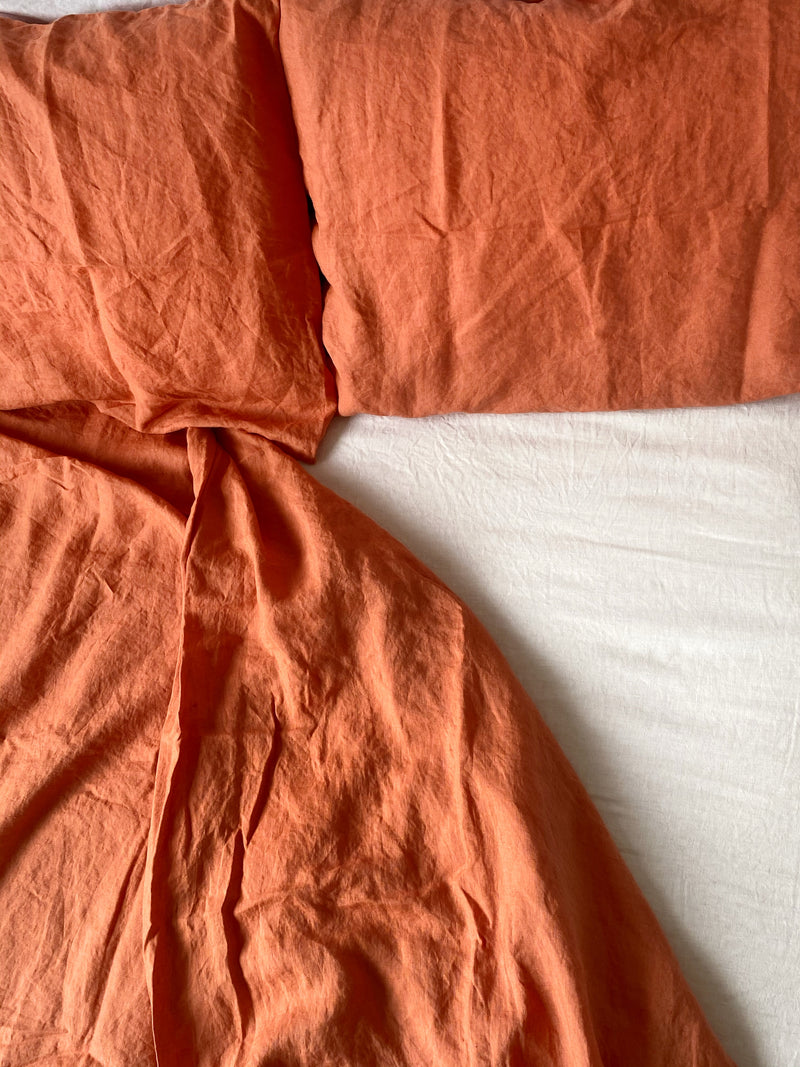 French Flax Linen Sheet Set - Coral
