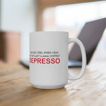 "Load image into Gallery viewer, White Ceramic Mug ""Depresso"""