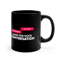 "Load image into Gallery viewer, Black mug 11oz ""Late Nights and Esspresso"""