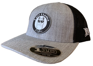 Heather Grey/Black - White Leather Patch - SnapBack Flex Curve