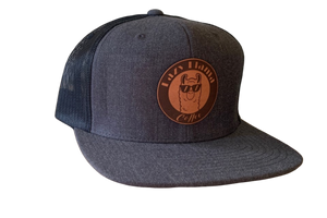 Charcoal/Black - Tan Leather Patch - Snapback