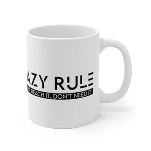 "White Ceramic Mug ""Lazy Rule"""