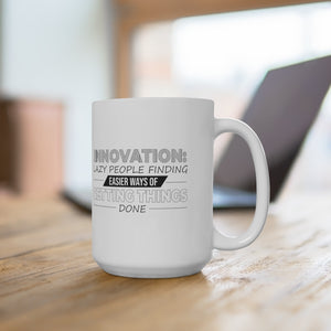 "White Ceramic Mug ""Innovation"""