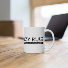 "Load image into Gallery viewer, White Ceramic Mug ""Lazy Rule"""