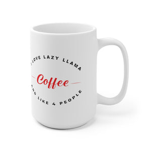 "White Ceramic Mug ""I love lazy llama coffee"""