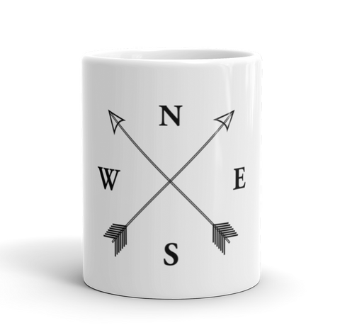Coffee Mug / North, South, West, East Compass (NSWE) - Cal31.com