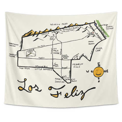 Wall Tapestry / California Republic Map / Los Angeles, Los Feliz, CA - Cal31.com