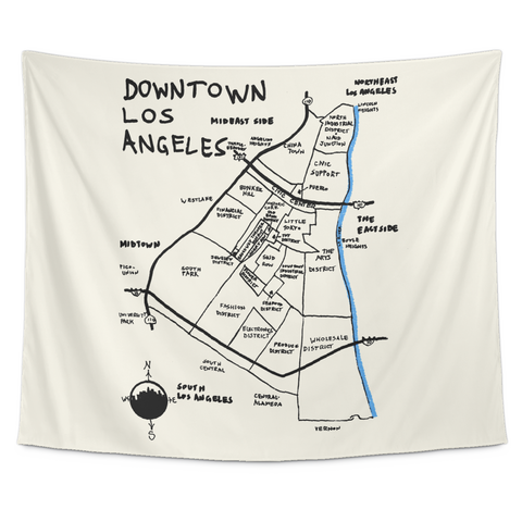 Wall Tapestry / California Republic Map / Los Angeles Downtown / Hand Drawn - Cal31.com