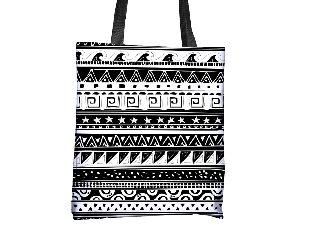 Black & White Pattern Tote Bag - Cal31.com