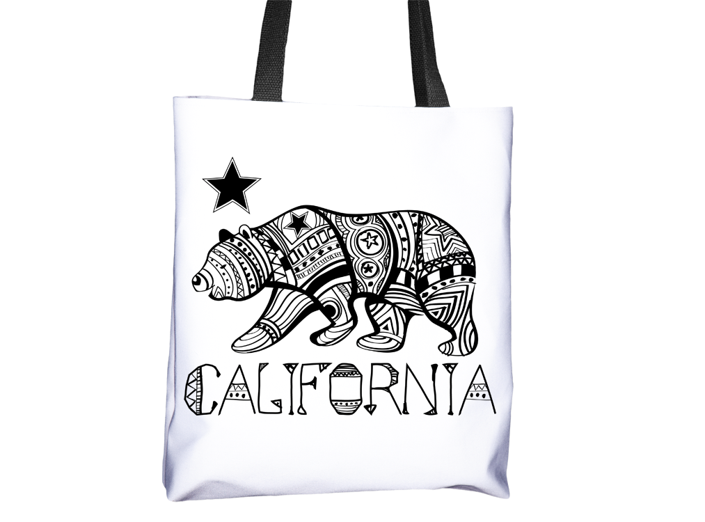 California Bear Indigenous Pattern Tote Bag - Cal31.com