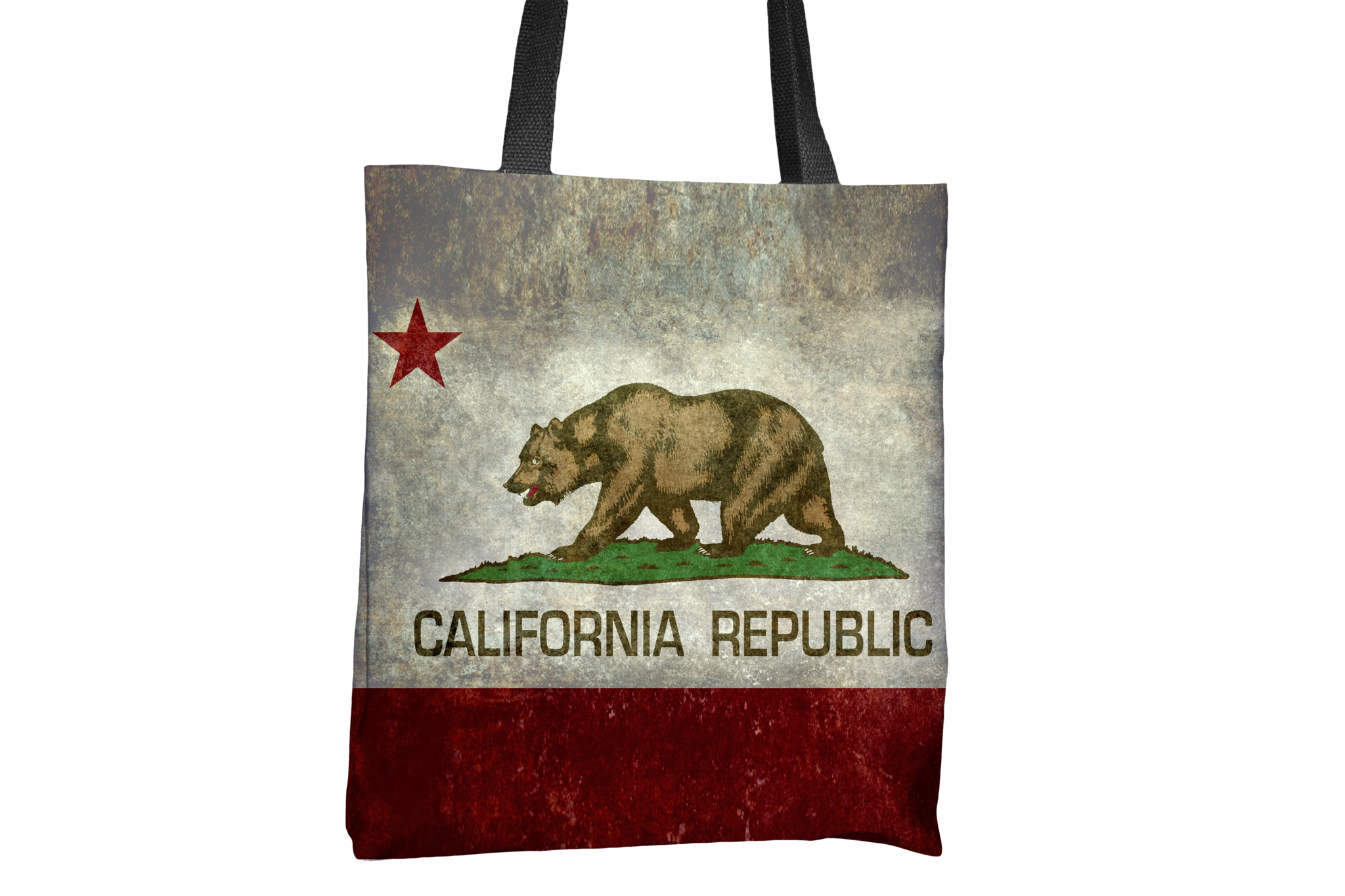 Grunge California Republic State Flag All Over Print Tote Bag
