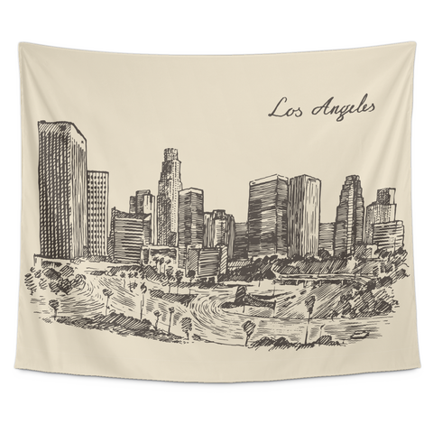 Wall Tapestry / Los Angeles, California - Hand drawn, vintage  downtown skyline - Cal31.com
