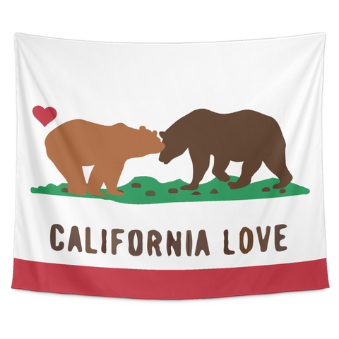 Wall Tapestry / California Republic State Flag Love Bears / Kissing