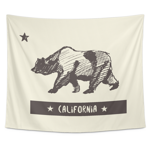 Wall Tapestry / California Republic State Flag / Vintage Bear / Hand Drawn