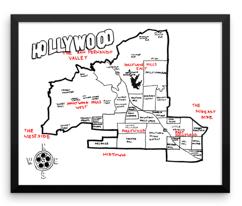 Wall Art / Hollywood, California (hand drawn city map) - Cal31.com