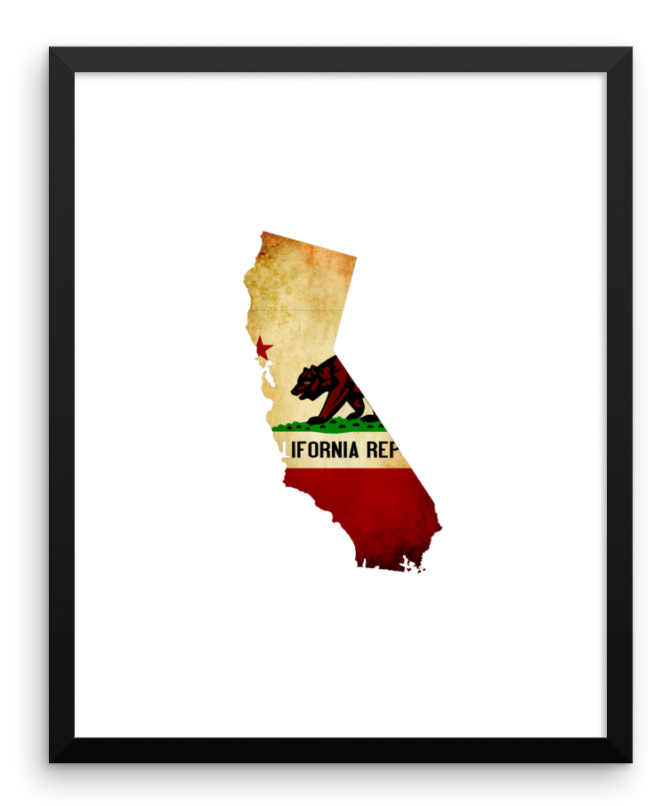 Wall Art / California State Flag & Map - Cal31.com
