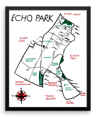 Wall Art / Echo Park, California (hand drawn city map) - Cal31.com