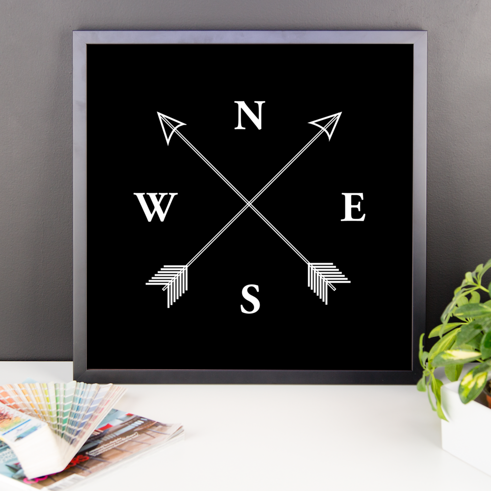 Wall Art / North, South, West, East Compass (NSWE) - Cal31.com