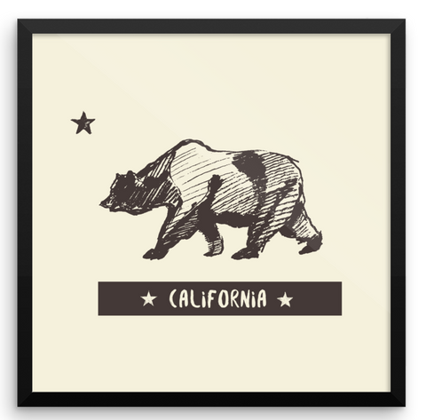 Wall Art / Hand drawn, vintage style California Bear - Cal31.com