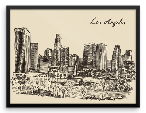 Wall Art / Los Angeles, California (hand drawn skyline) - Cal31.com