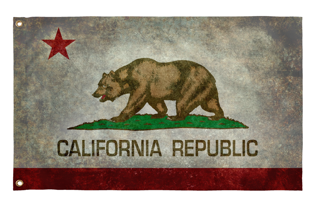 Flag California State Grunge Style