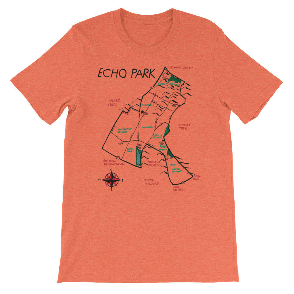 Echo Park T-Shirt City Map by Eric Brightwell - Cal31.com