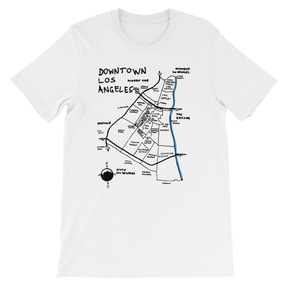 Downtown Los Angeles City Map T-Shirt by Eric Brightwell