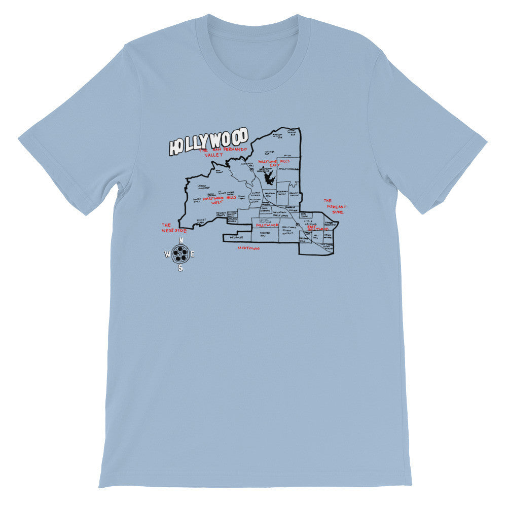 Hollywood, Los Angeles City Map T-Shirt by Eric Brightwell - Cal31.com