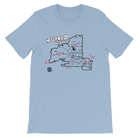 Hollywood, Los Angeles City Map T-Shirt by Eric Brightwell