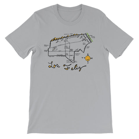 Loz Feliz, Los Angeles City Map T-Shirt by Eric Brightwell