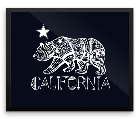 Wall Art / Indigenous California Bear Black on White - Cal31.com