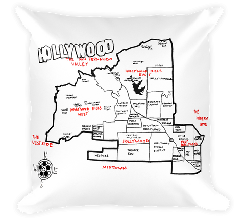 Decorative Throw Pillow / Hollywood, California hand drawn map - Cal31.com