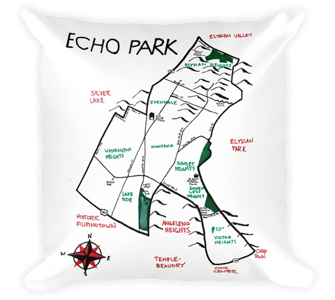 Decorative Throw Pillow / Echo Park, California hand drawn map - Cal31.com