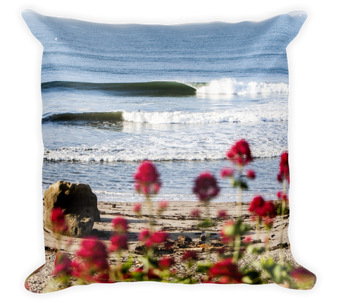 Decorative Throw Pillow / Pacific Ocean Beach with Flowers - Cal31.com
