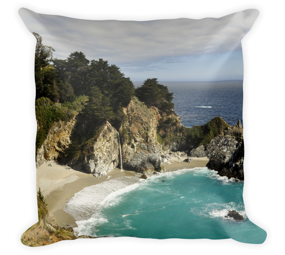 Decorative Throw Pillow / Big Sur, California - Julia Pfeiffer Burns State Park Waterfalls - Cal31.com