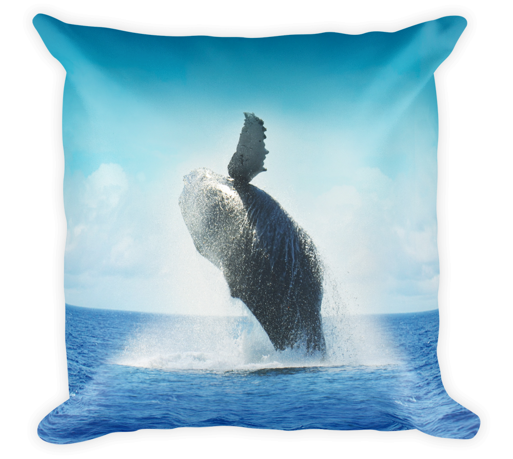 Decorative Throw Pillow / California Humpback Whale jumping in Pacific Ocean - Cal31.com