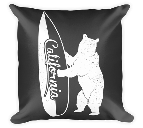 Decorative Throw Pillow / California Surf Bear - Cal31.com