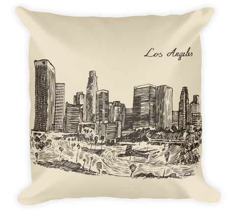 Decorative Throw Pillow / Los Angeles Hand drawn & Vintage Skyline - Cal31.com
