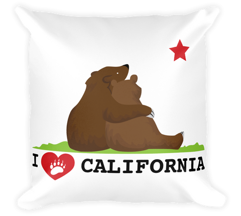Decorative Throw Pillow / California Love Bear State Flag (Hand drawn) - Cal31.com