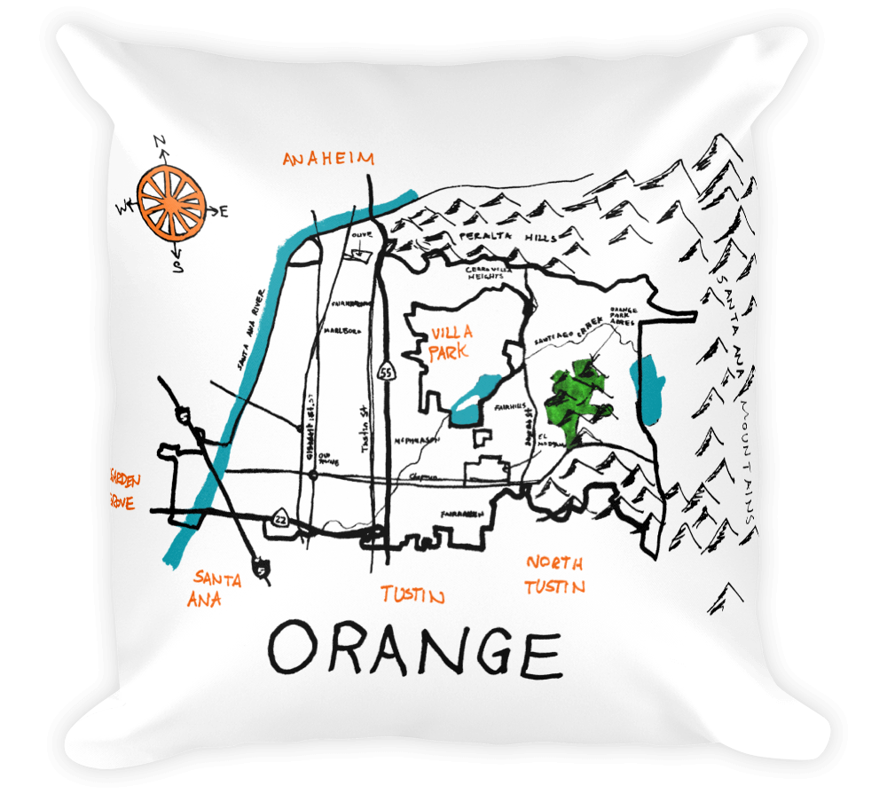 Decorative Throw Pillow / City of Orange, California hand drawn map - Cal31.com