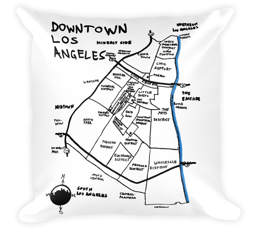 Decorative Throw Pillow / Downtown Los Angeles, California hand drawn map - Cal31.com