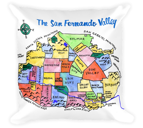 Decorative Throw Pillow / San Fernando Valley, California hand drawn map - Cal31.com