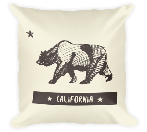 Decorative Throw Pillow / California Bear (Hand drawn & Vintage) - Cal31.com