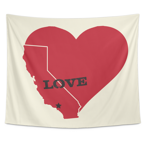 Wall Tapestry/ Hand Drawn / I love Los Angeles, California Republic - Cal31.com