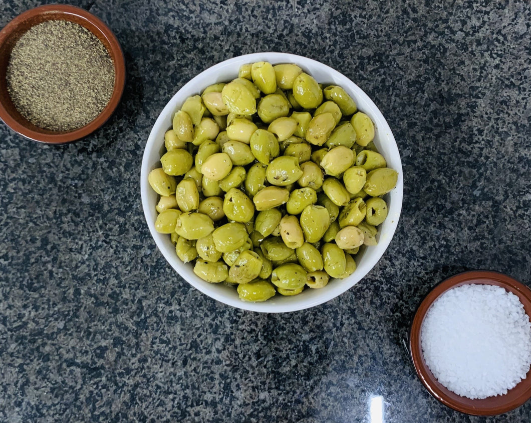 Cleveleys Green Pitted Garlic and Herb Marinated Olives (1kg)
