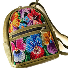 Huipil Leather Mochila