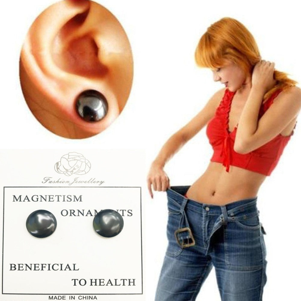 2Pcs/Pair Bio Magnetic Therapy Weight Loss Stud Earrings Stimulating Acupoints Magnet Stickers Health Care Slimming Product
