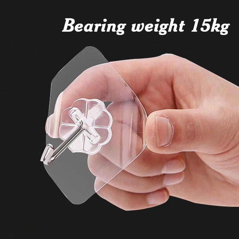 2 pcs  Strong Transparent Wall Hooks