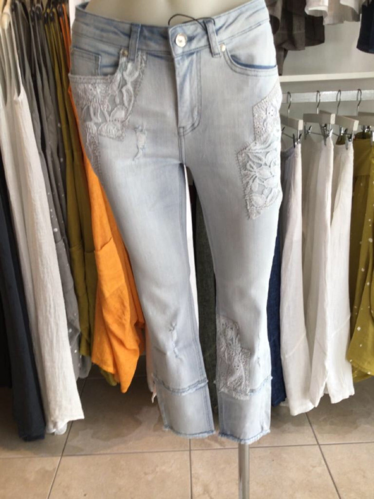 Monari Jeans - Blue with Lace