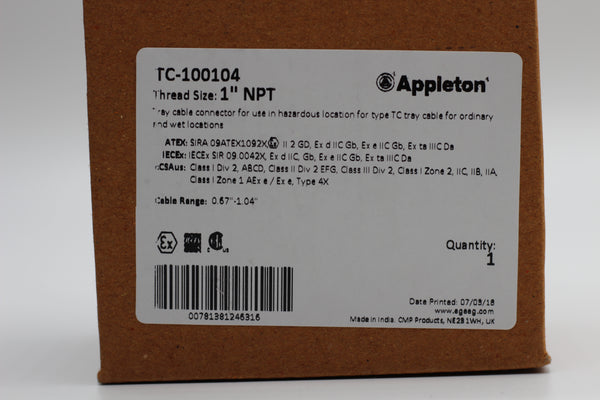 Appleton TC-100104 TC Cable Connector